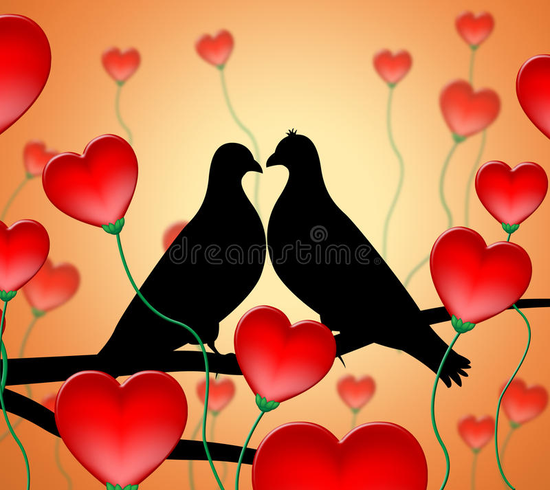 Love Birds Means Tenderness Wildlife And Compassion royalty free illustration