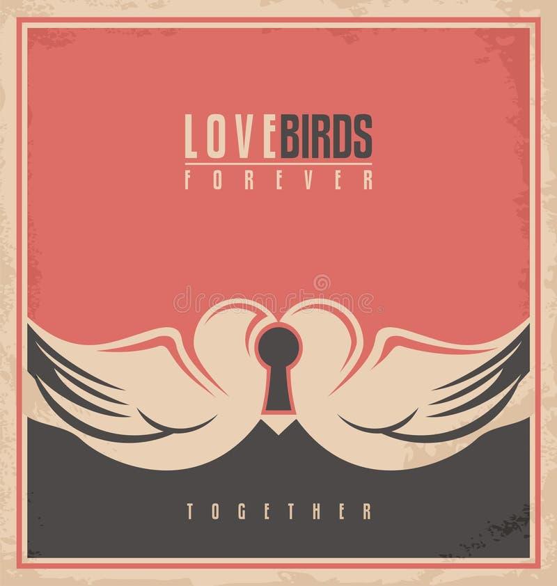 Love birds, unique creative concept royalty free illustration