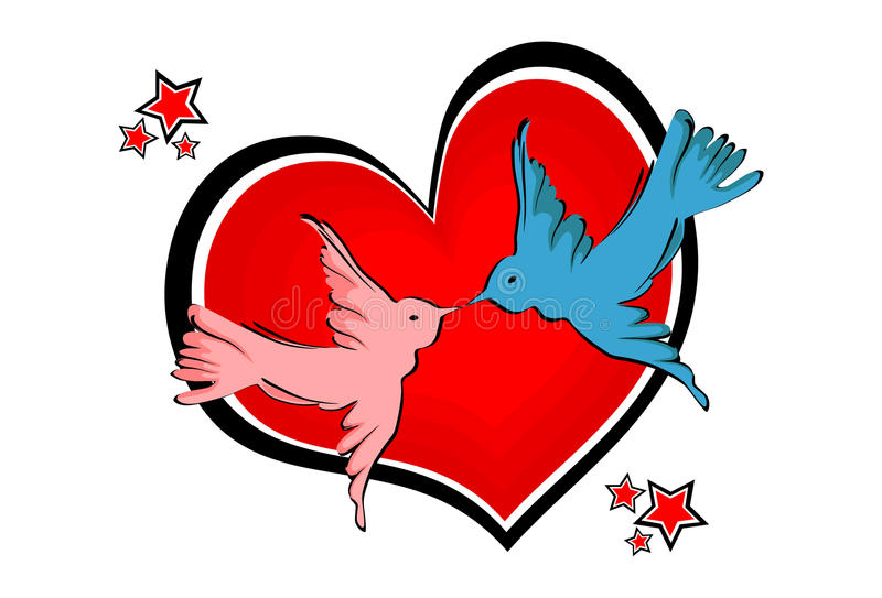 Love birds - Vector. Love birds and red heart vector illustration