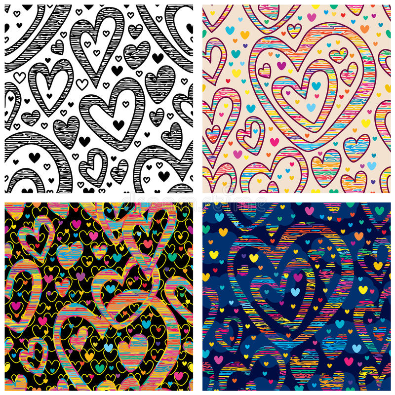 Love black white color doddle seamless pattern vector illustration