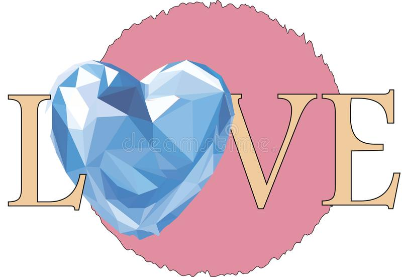 Love with a blue glass heart stock illustration