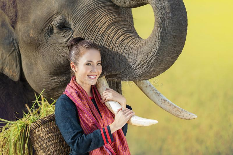 Love, bonding of people and elephants stock image