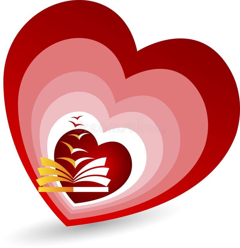 Love book fly logo. Illustration art of a love book fly logo with background stock illustration