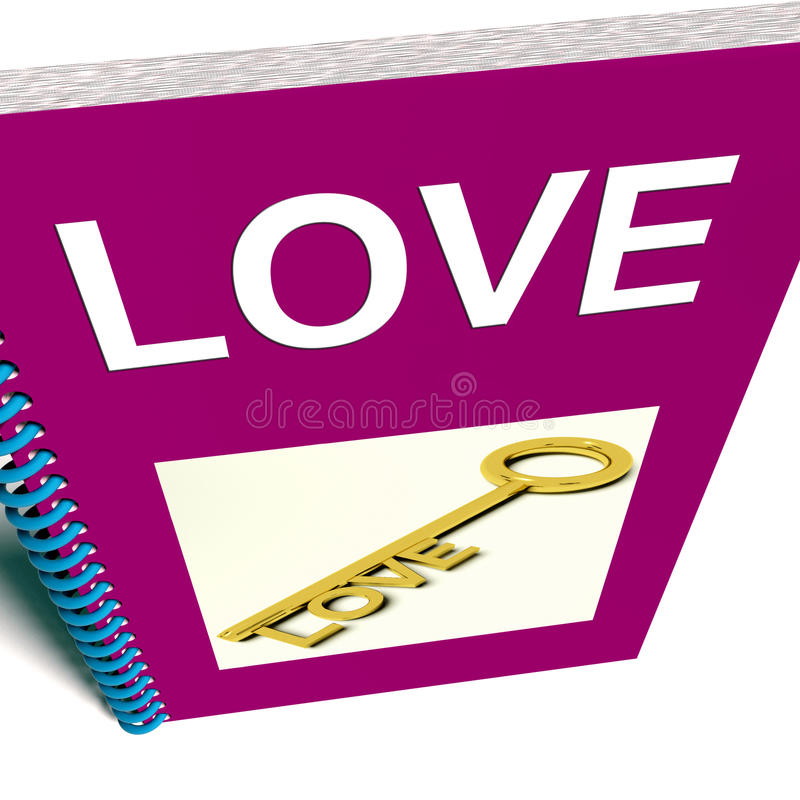Love Book Shows Key to Affectionate Feelings. Love Book Showing Key to Affectionate Feelings royalty free illustration