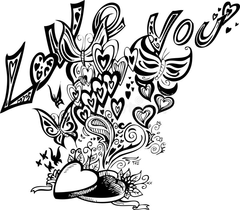 Love Box Coloring Vector Stock Photography