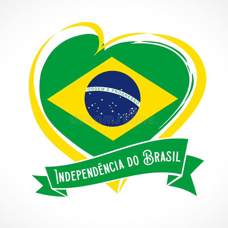 Love Brazil Flag Emblem With Portuguese Text Independencia Do