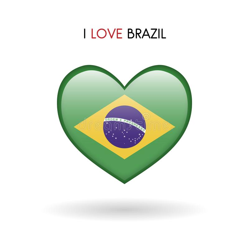 Love Brazil symbol. Flag heart glossy icon stock images