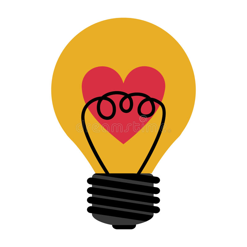 Love bulb light. Yellow bulb light with red heart icon inside over white background. vector illustration royalty free illustration