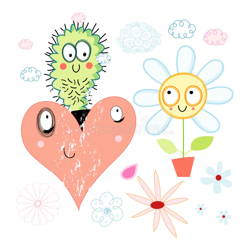 Download Love cactus and flower stock vector. Illustration of design - 28771190