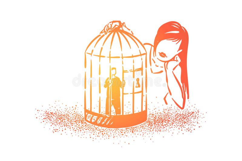Love cage metaphor, girl looking at boyfriend tiny character imprisoned in birdcage stock illustration