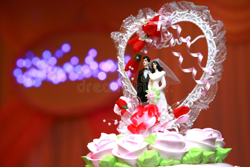 Love cake. At the wedding banquet hall love cake royalty free stock photography