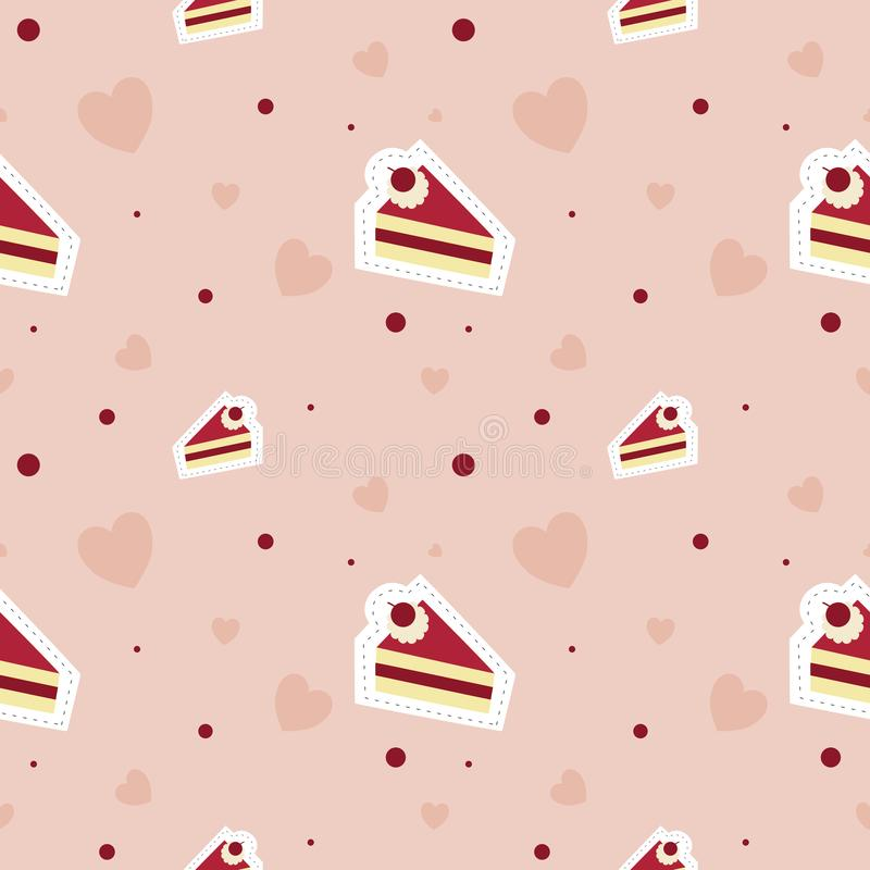 In love with cake pattern seamless and heart vector on pink background. Cake with heart pattern seamless dessert vector on pink background royalty free illustration