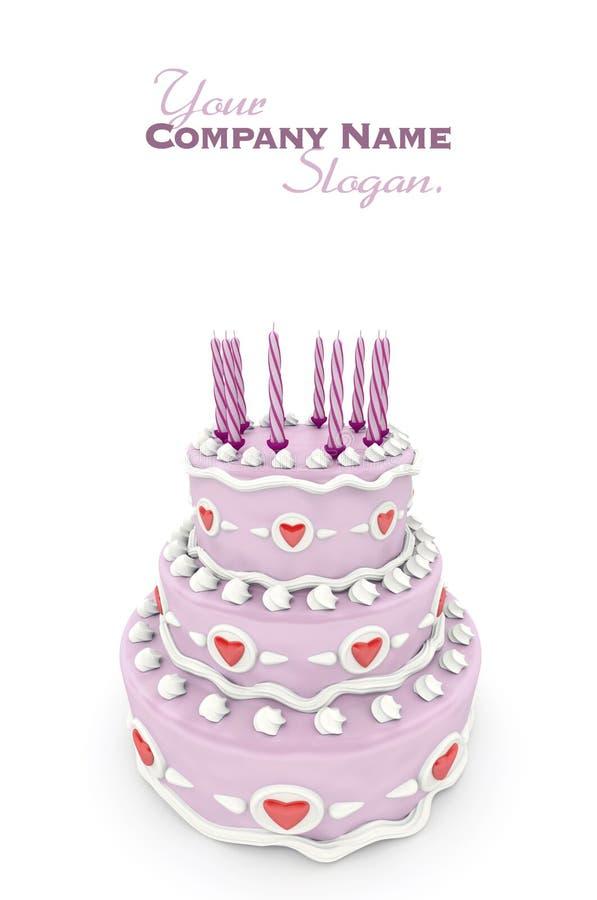 Love cake in pink stock illustration
