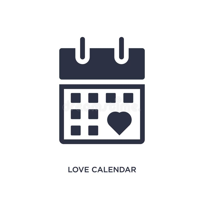 love calendar icon on white background. Simple element illustration from birthday party and wedding concept royalty free illustration