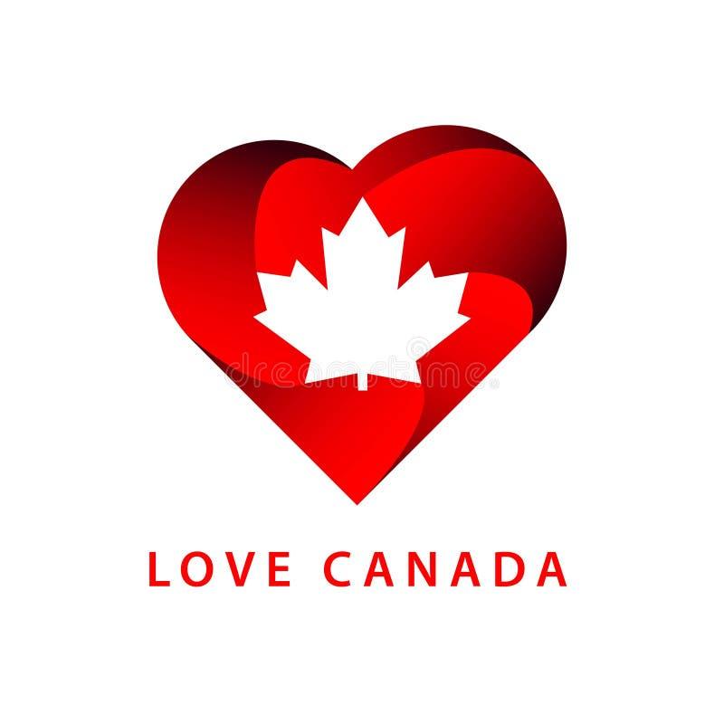 Love Canada Logo Vector Template Design Illustration royalty free illustration