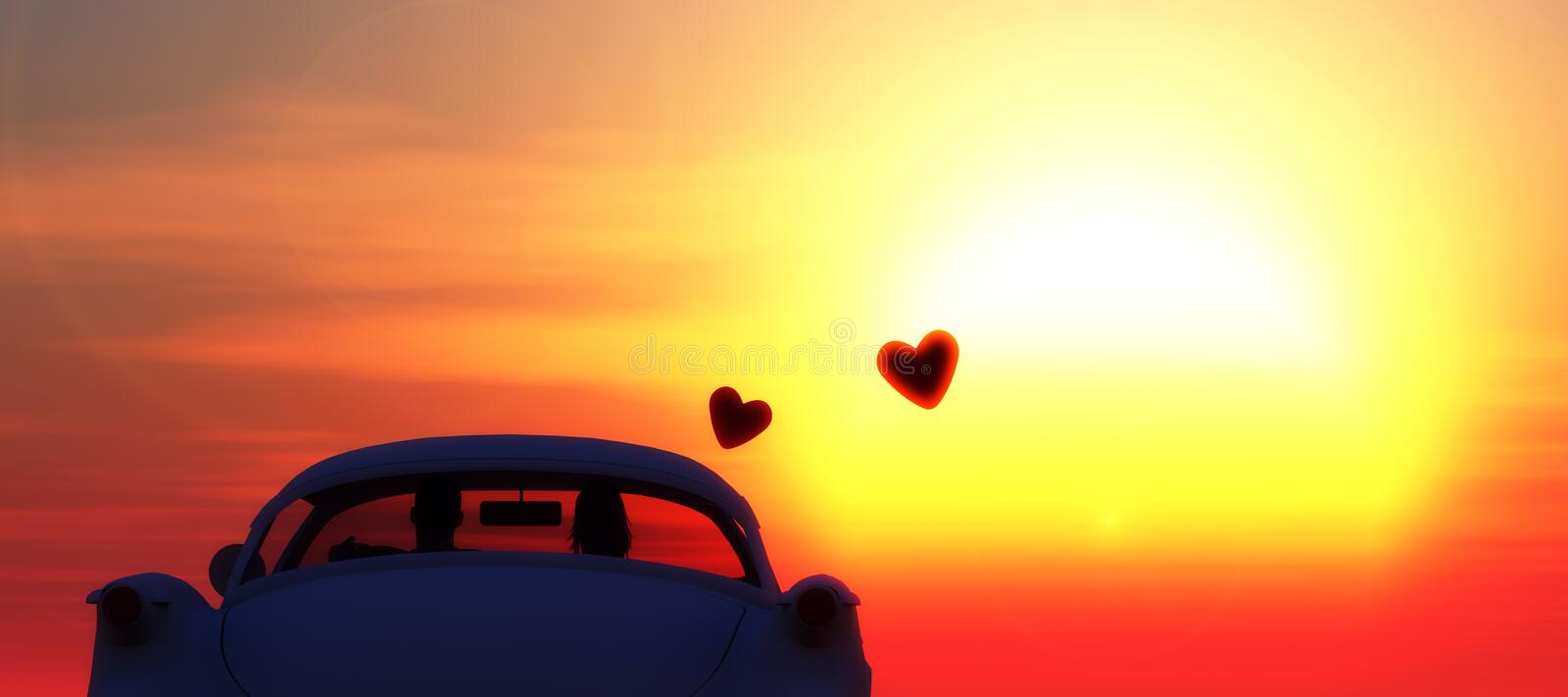 Love car. Susnset and love car stock image
