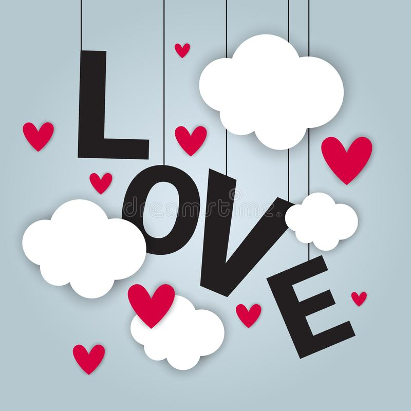 Love Card Background Happy Valentines Day Concept With Paper Cut Clouds And Heart Shapes. Vector Illustration royalty free illustration