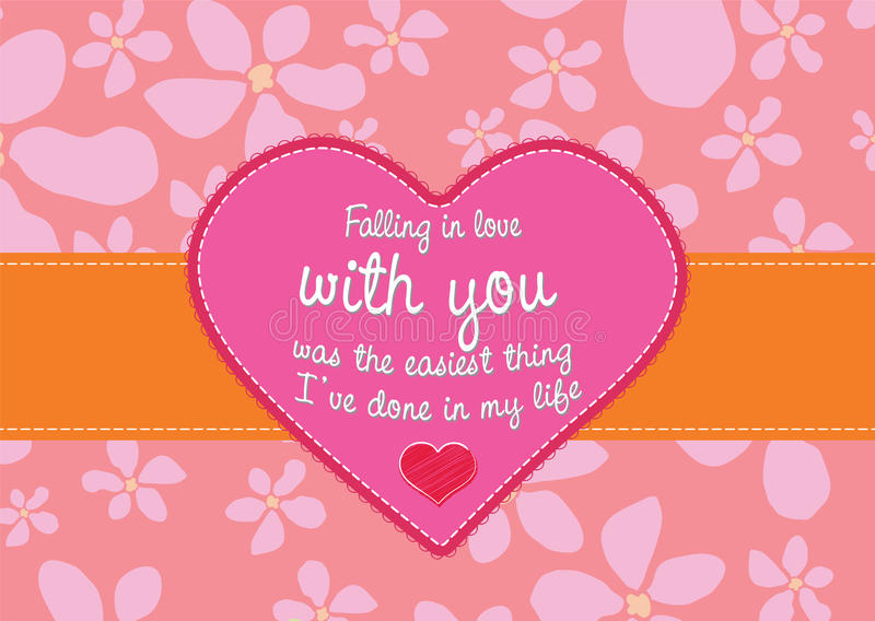 Love card with floral background