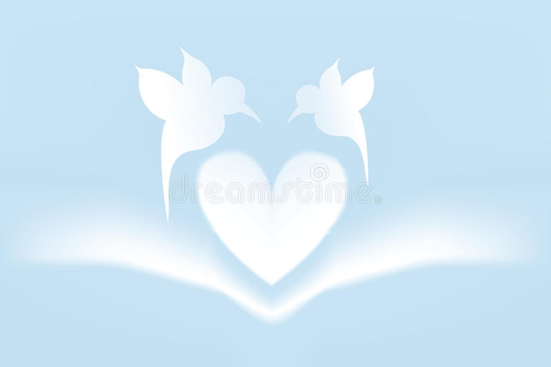 Love card. With heart and bird shapes - available as jpg and eps-file stock illustration