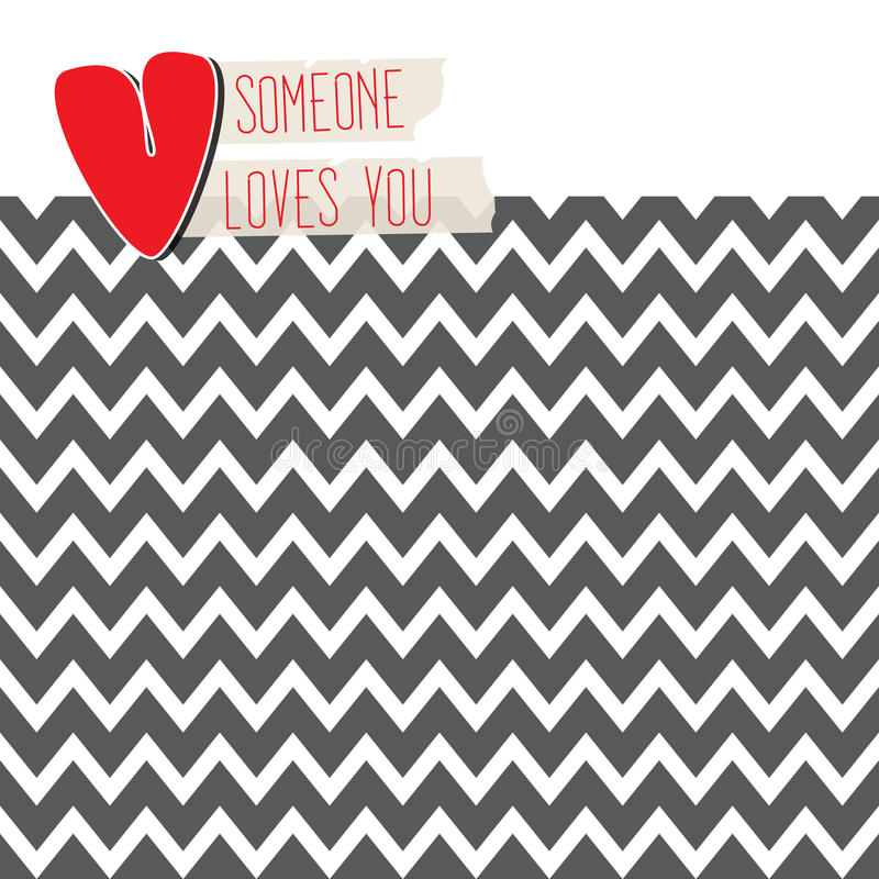 Download Love Card With Heart On Modern Chevron Background Stock Vector - Image: 33462455