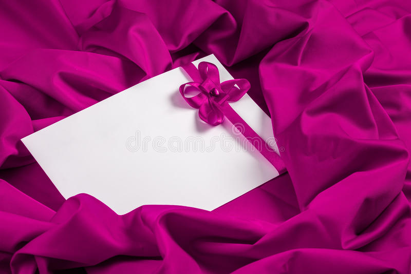 Love Card With Heart And Ribbon On A Purple Fabric Stock Image