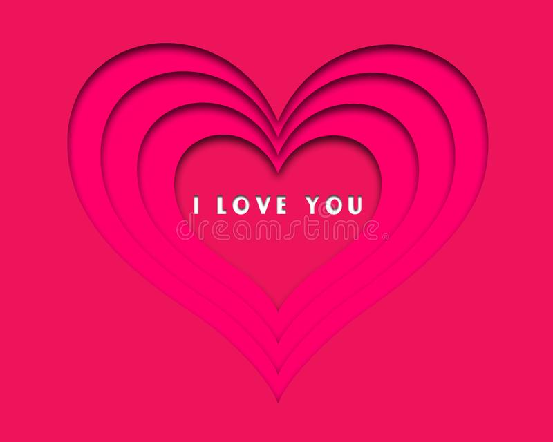 Love card with heart& x27;s in red and pink background for loved ones. Love card hearts red white background loved ones message design stock illustration