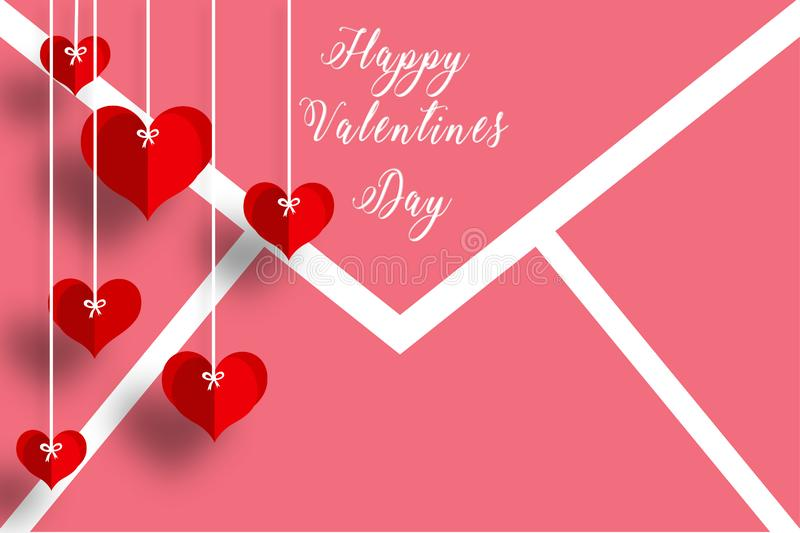 Love card with heart& x27;s in red and white background for loved ones. Love card hearts red white background loved ones message design vector illustration