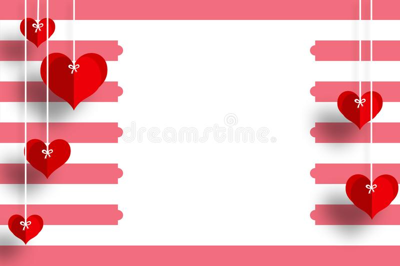 Love card with heart& x27;s in red and white background for loved ones. Love card hearts red white background loved ones message design royalty free illustration