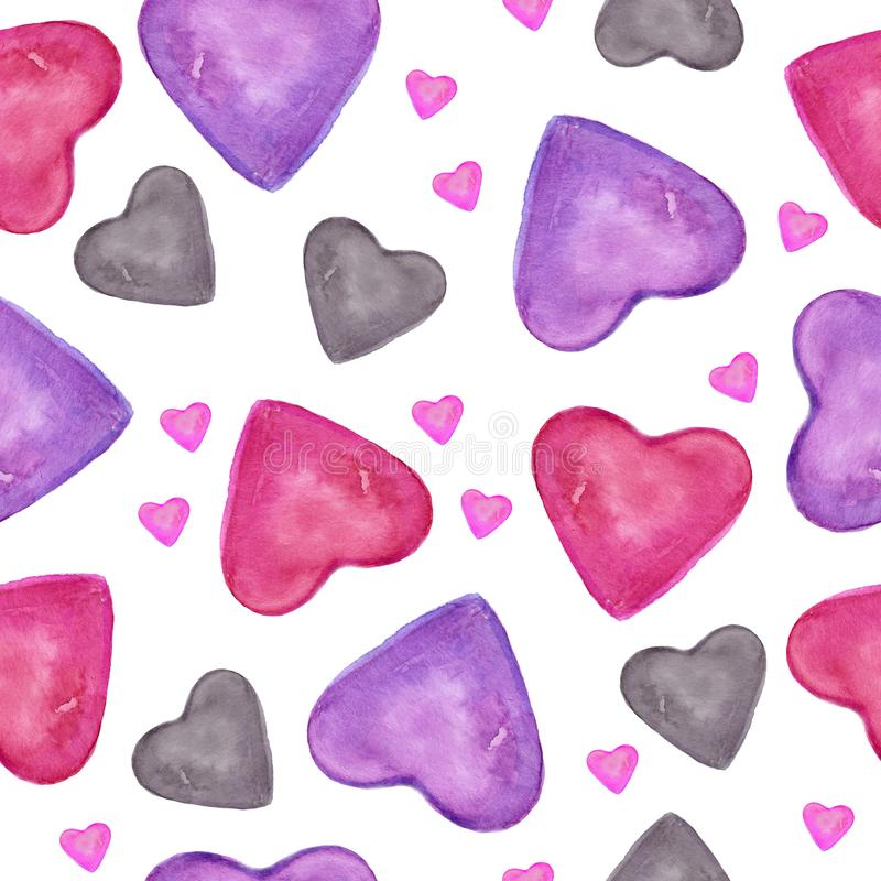 Love card with pink, red, green, grey hearts. Watercolor seamless pattern with hand drawn colorful heart isolated on white backgro. Watercolor seamless pattern vector illustration