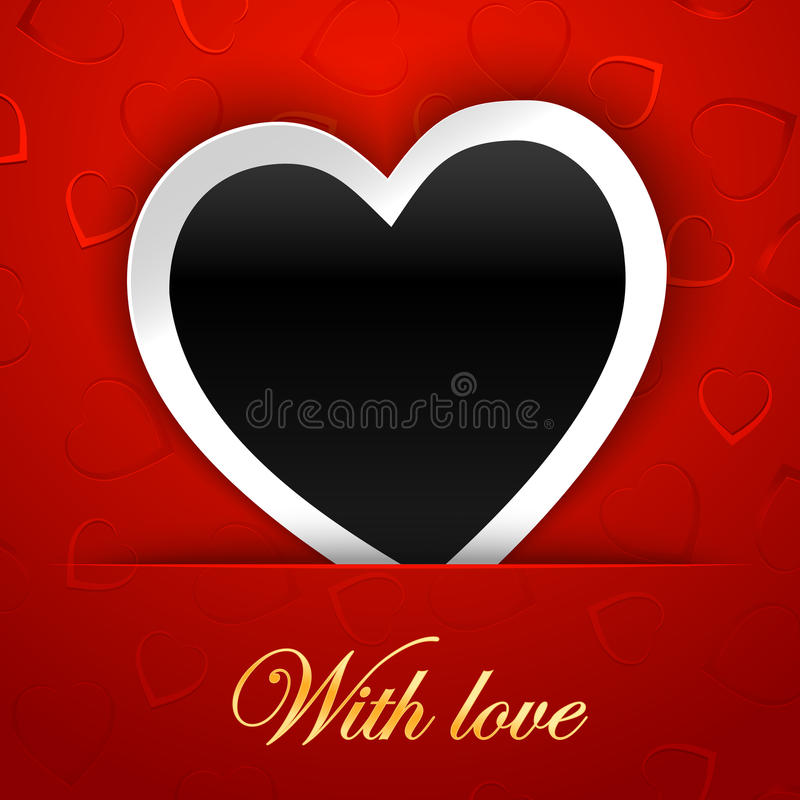 Love card template with blank photo frame on the red background stock illustration