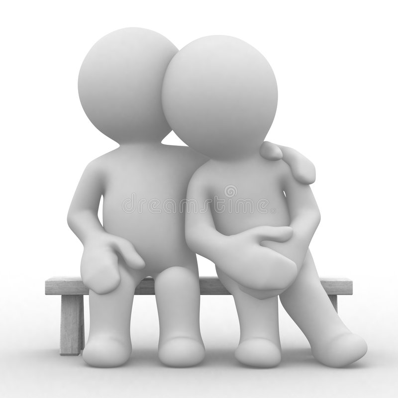 Love and care. 3d cute lovers sit bosom and are happy royalty free illustration