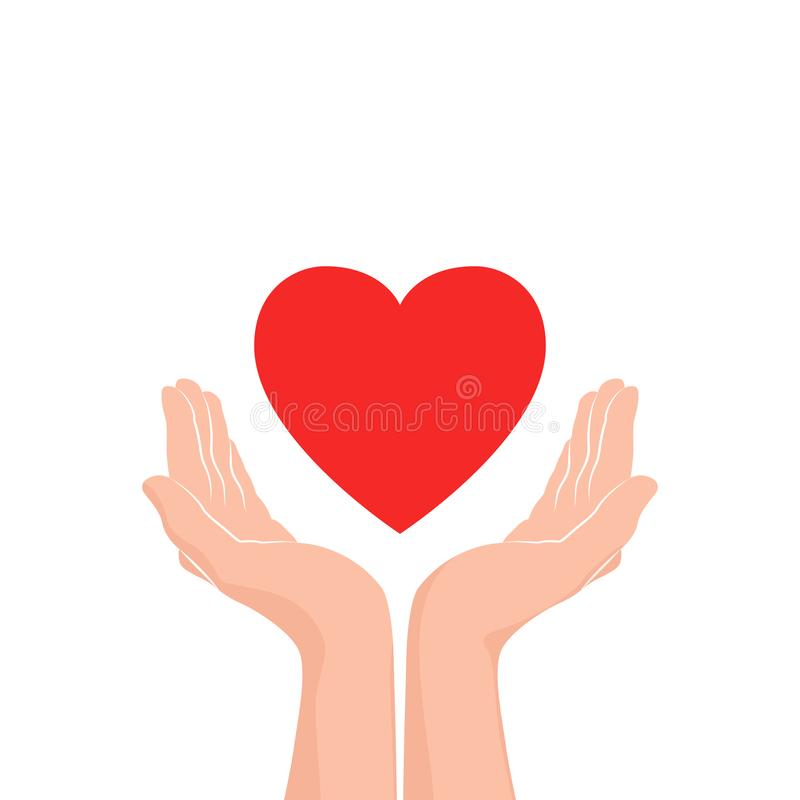 Love care Icon. Two hands with red heart. Vector illustration stock illustration
