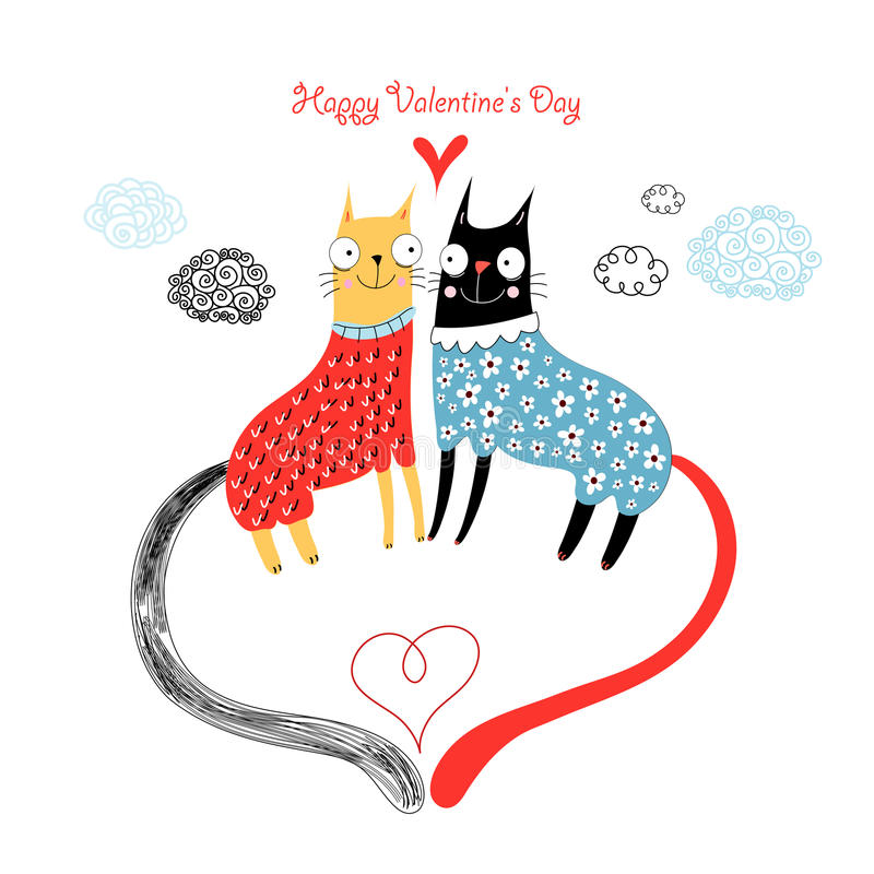Download Love cats stock vector. Image of valentine, bright, happiness - 23327483