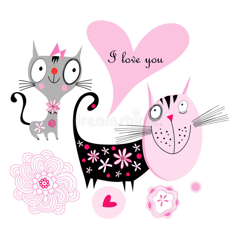 Download Love cats stock vector. Image of black, illustration - 27410807