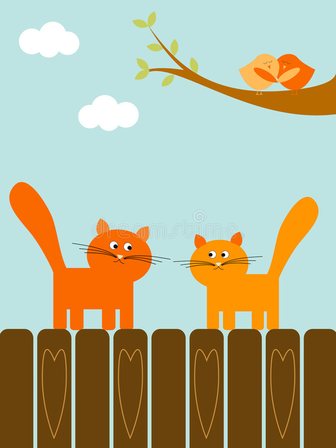 Download Love cats stock vector. Image of love, card, cute, leaf - 7399719
