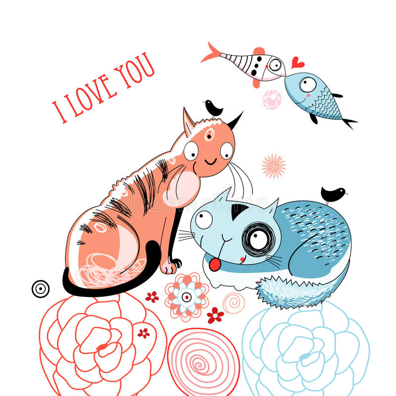 Download Love cats and fish stock vector. Image of silhouette - 22804879