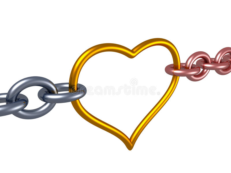 Love chain heart link. romance concept. 3d royalty free illustration