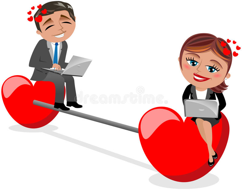 Love Chat Concept. Illustration featuring Bob and Meg chatting and flirting at computer via internet on white background. Concept of finding love on internet royalty free illustration