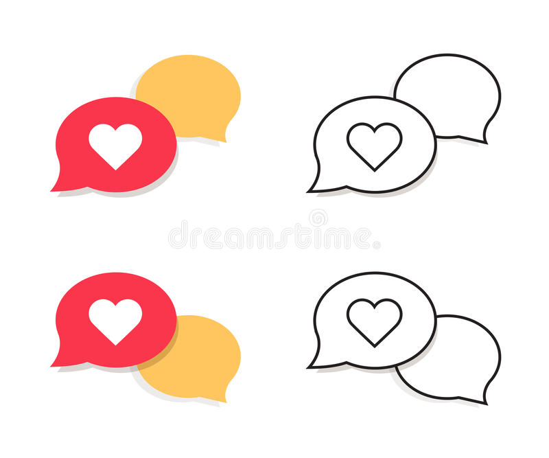 Love chat vector line icon on white background. Love chat line icon for infographic, website or app. vector illustration