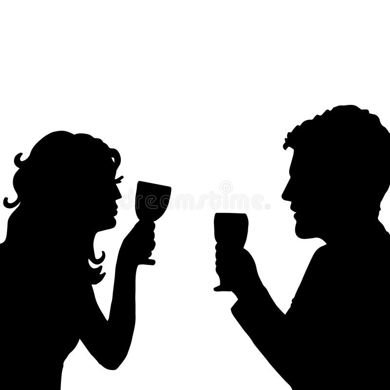 Love. cheers. Pair with glass vector illustration