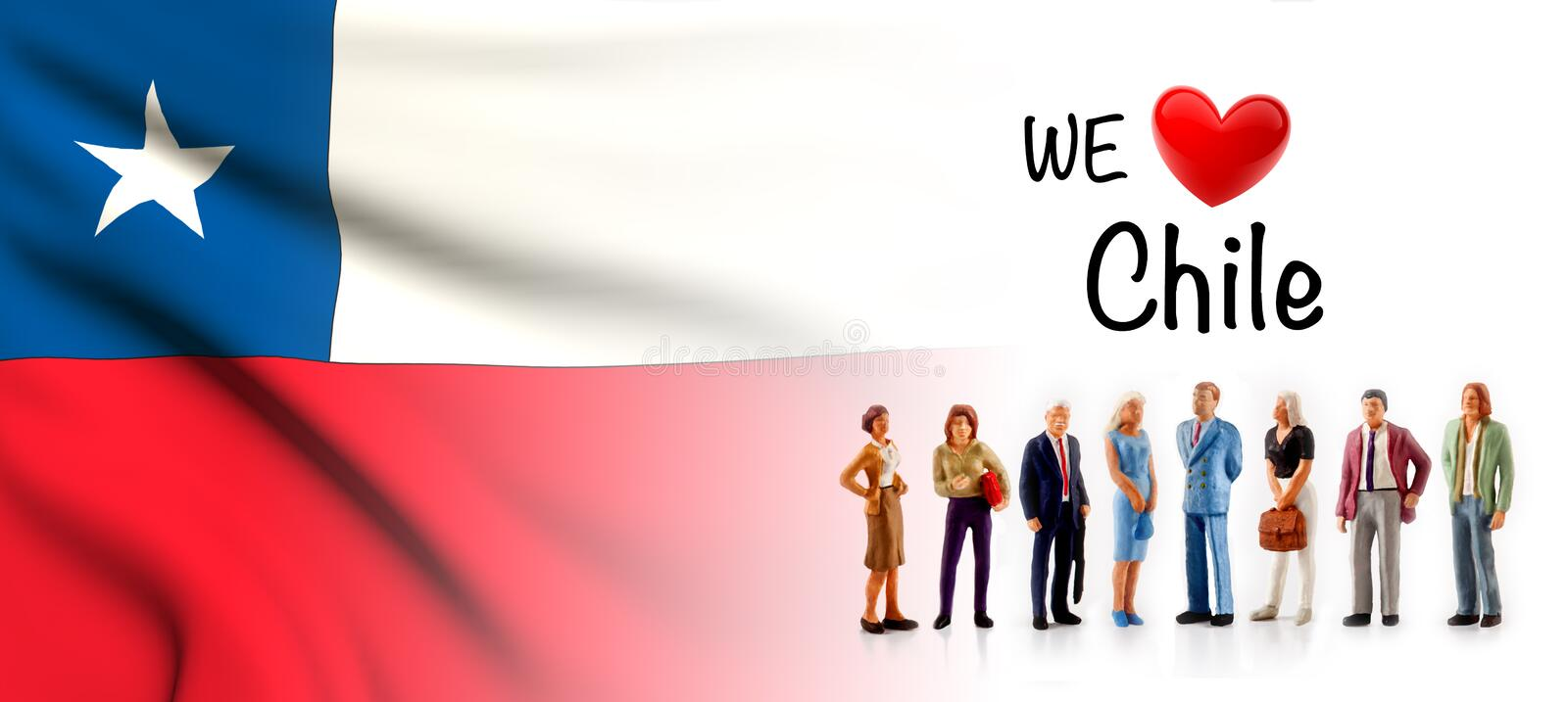 We love Chile, A group of people pose next to the Chilean flag vector illustration