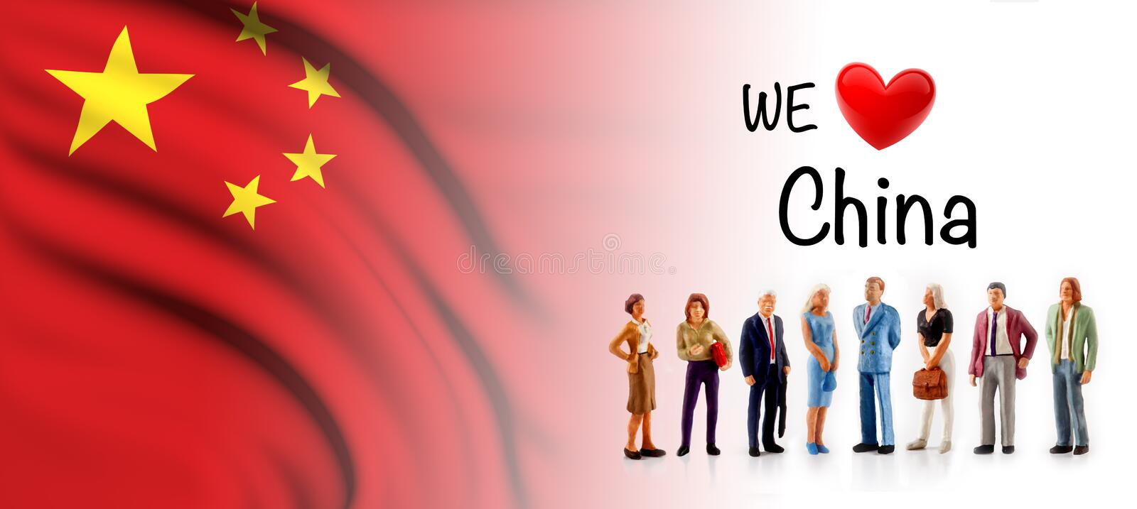 We love China, A group of people pose next to the Chinese flag.  vector illustration