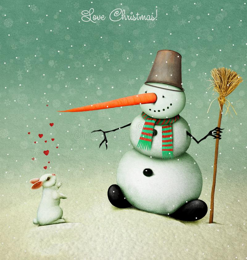 Love Christmas. Holiday greeting card or illustration with snowman and love white rabbit and hearts. Computer graphics royalty free illustration