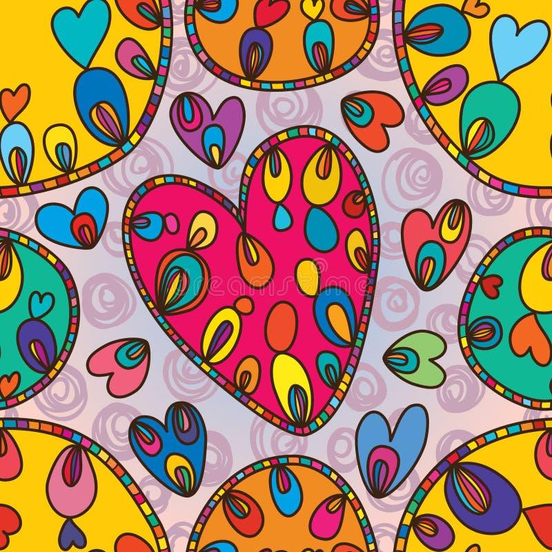 Love circle shape drawing seamless pattern vector illustration
