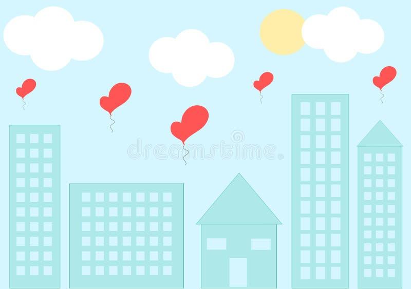 Love cityscape with romantic heart balloon cartoon illustration vector illustration