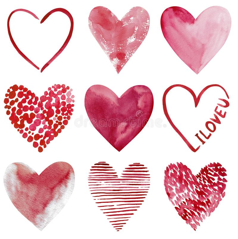 Love clipart, nine hand-drawn watercolor hearts isolated on white background royalty free illustration