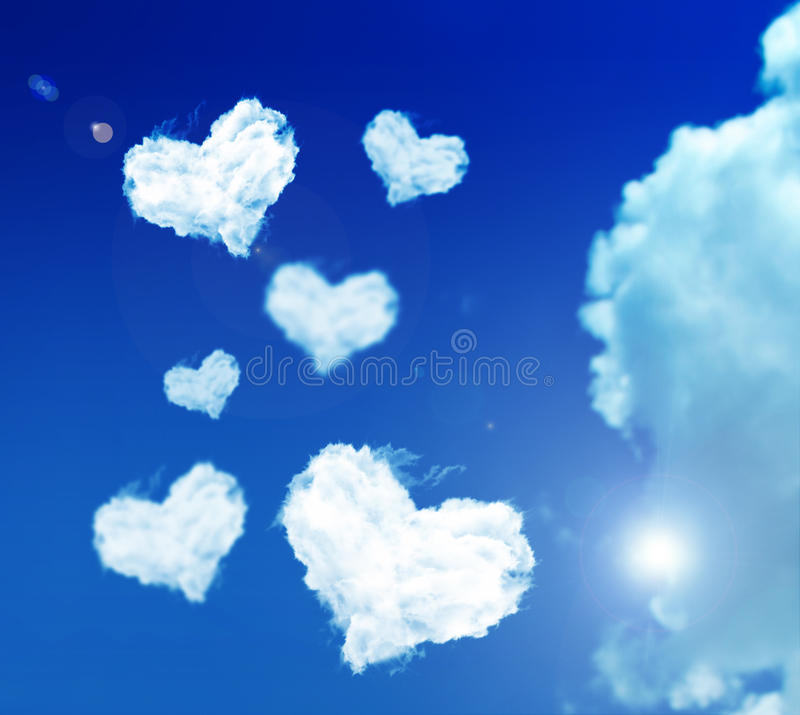 Love cloud. On the summerly sky stock photo
