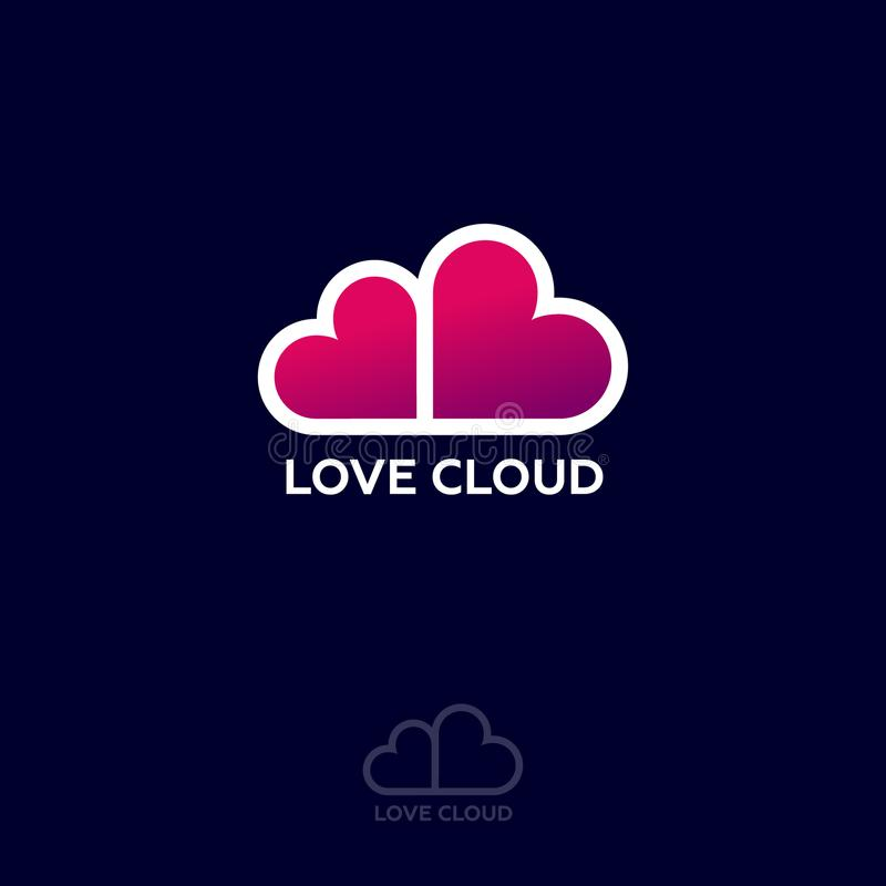 Love Cloud logo. Dating website emblem. Dating chat. Pink hearts like cloud. stock illustration