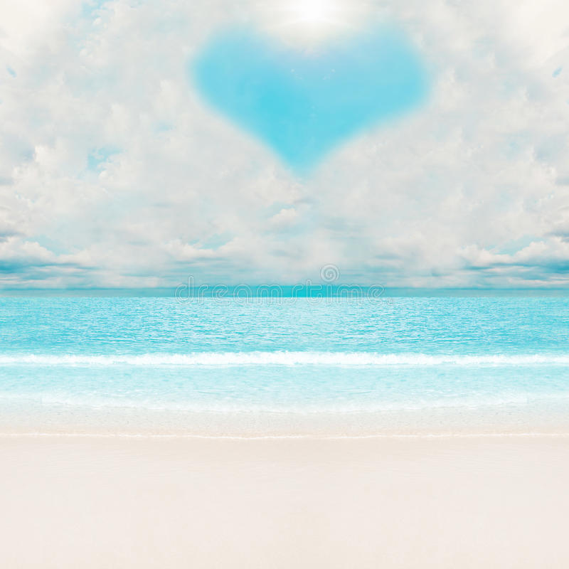 Love clouds over tropical beach royalty free stock photos