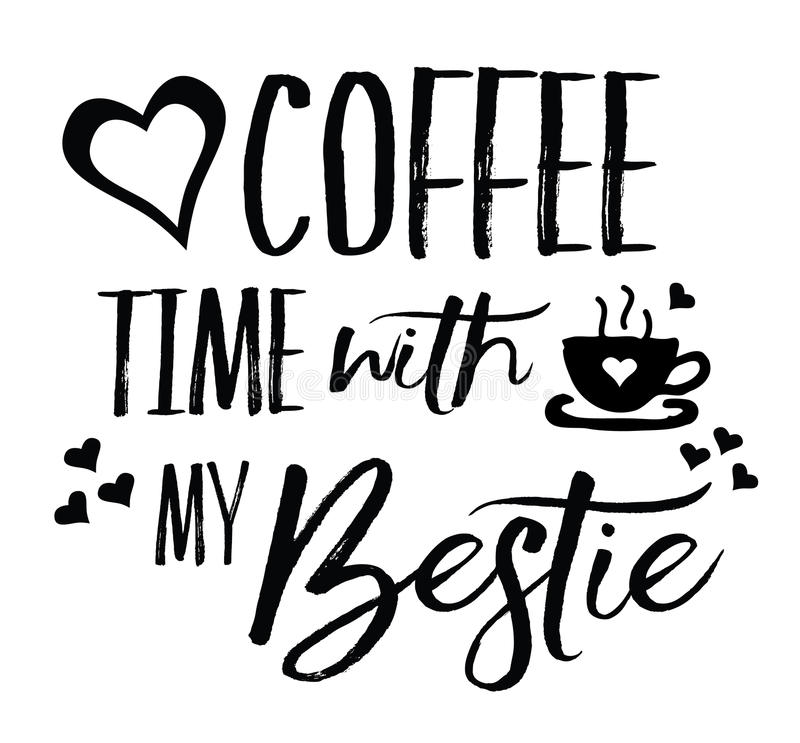 Love Coffee Time with my Bestie. Typography vector art design with heart and coffee icons royalty free illustration